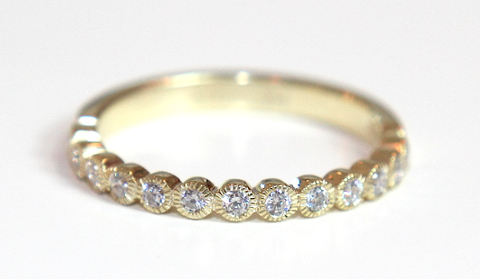 Rubover Mill Grain Edge Wedding & Eternity Ring 0.25ct - Campbell Jewellers  - 1