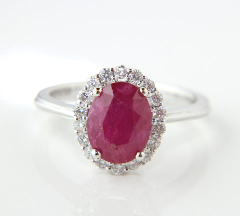 Campbell Ruby & Diamond Oval Halo Ring 2.80ct