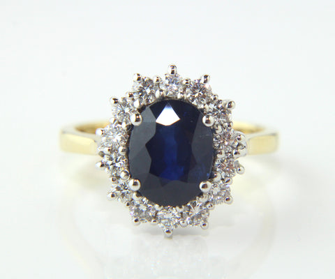 Campbell Blue Oval Cut Sapphire & Diamond Engagement/Eternity Ring 3.26ct