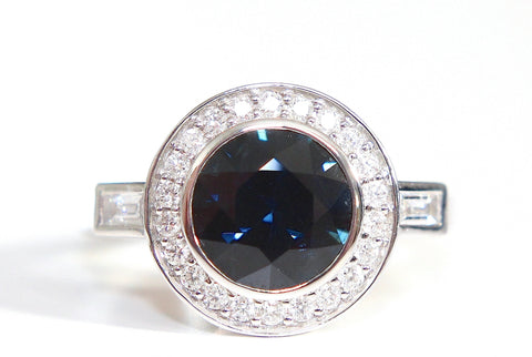 Campbell Blue Sapphire Halo Diamond Ring 2.39ct - Campbell Jewellers  - 1