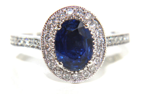 Campbell Oval Blue Sapphire & Diamond Vintage Engagement Ring 1.61ct - Campbell Jewellers  - 1