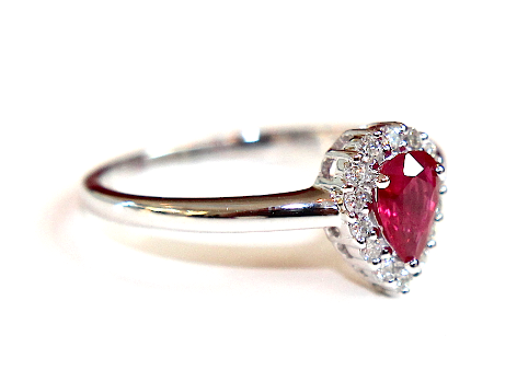 Pear Shape Ruby Halo Ring 0.50ct - Campbell Jewellers  - 1