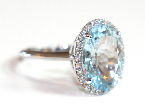 Campbell Aquamarine & Diamond Oval Cocktail Ring 6.18ct - Campbell Jewellers  - 1