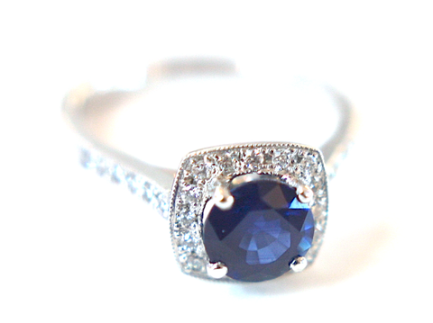 Campbell Blue Sapphire & Diamond Halo Engagement Ring 1.78ct - Campbell Jewellers - 1
