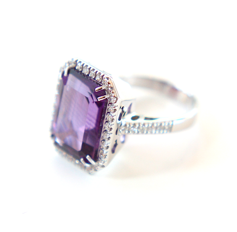 Campbell Amethyst Emerald Cut Cocktail Ring 10.54ct - Campbell Jewellers  - 1