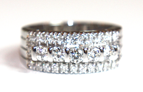 Wide Diamond Three Row Ring 0.80ct - Campbell Jewellers  - 1