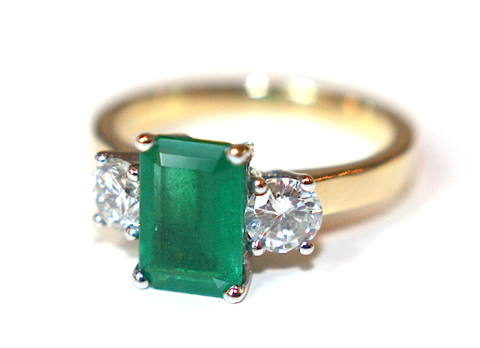 Campbell Emerald & Diamond 3 Stone Ring 3.37ct - Campbell Jewellers  - 1