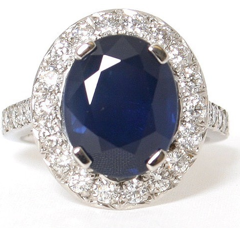 Platinum Alice Blue Saphhire Diamond Ring - Campbell Jewellers