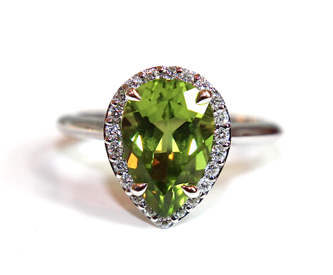 Campbell Pear Shape Peridot Diamond Ring 3.94ct - Campbell Jewellers  - 1