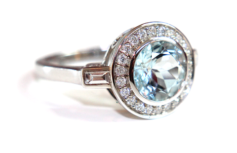Campbell Aquamarine Halo Diamond Ring 1.76ct - Campbell Jewellers  - 1