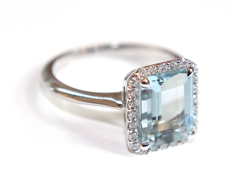 Campbell Emerald Cut Aquamarine Diamond Ring 3.45ct - Campbell Jewellers  - 1