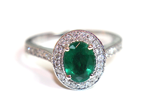 Campbell Emerald & Diamond Vintage Style Halo Ring 1.37ct - Campbell Jewellers  - 1