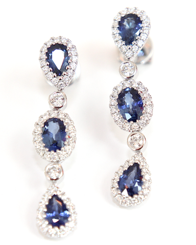 Campbell Fine Sapphire & Diamond Drop Earrings 2.71ct - Campbell Jewellers  - 1