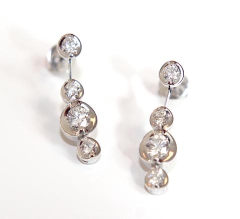 Campbell Fine Diamond Drop Earrings 1.10ct - Campbell Jewellers  - 1