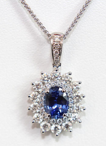 Campbell Fine Sapphire & Diamond Double Halo Pendant 2.21ct - Campbell Jewellers  - 1