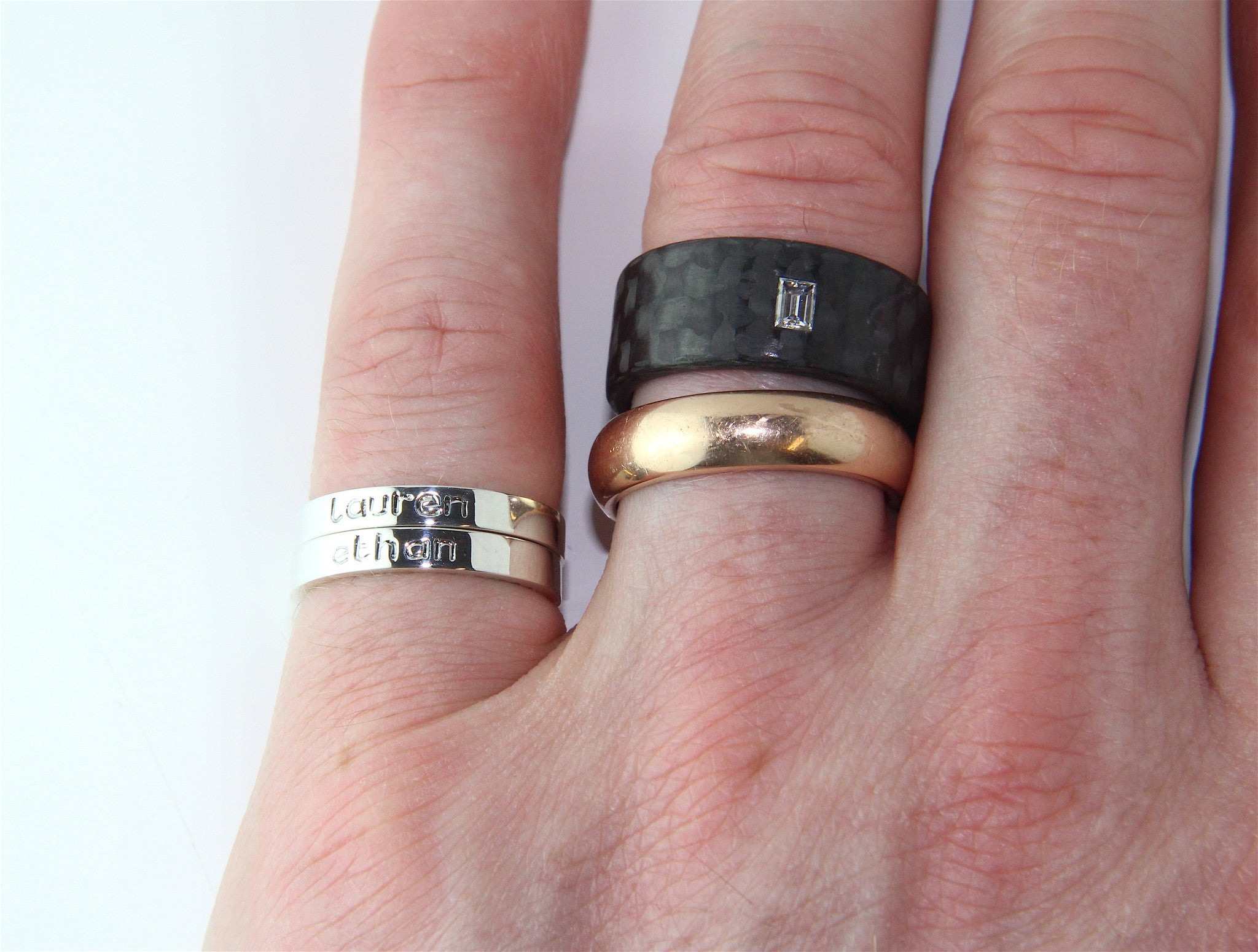 The Wonderful Children\'s Name Ring With Black Engraving | Bespoke ...