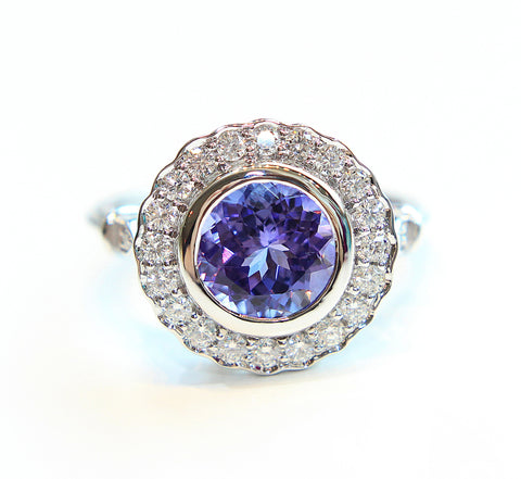 Tanzanite & Diamond Halo Ring In 18ct White Gold - Campbell Jewellers  - 1