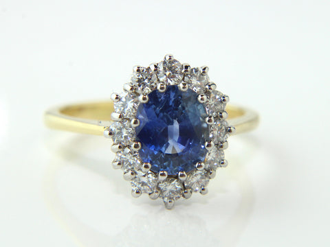 Campbell Vibrant Blue Oval Cut Sapphire & Diamond Engagement/Eternity Ring 2.71ct