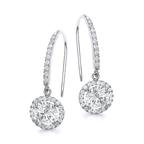 White Gold Round Halo Drop Earrings