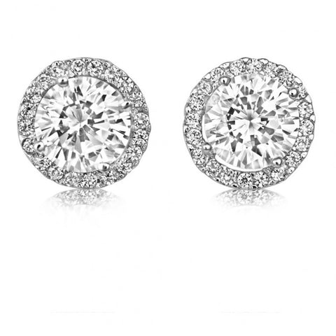 White Gold Round Halo Stud Earrings