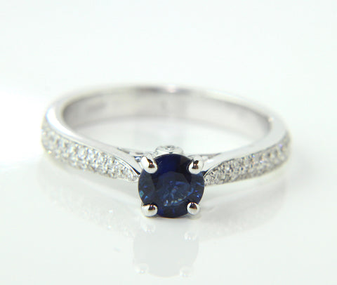 Campbell Blue Sapphire Solitaire Engagement Ring 0.88ct