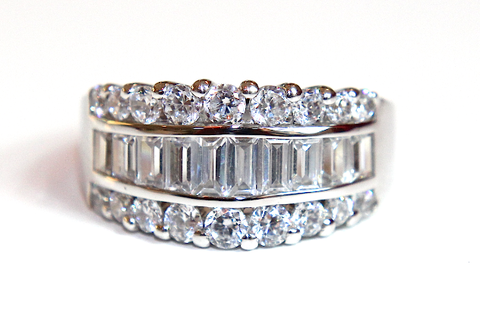 Wide Baguette & Round Wedding & Eternity Ring 2.65ct - Campbell Jewellers  - 1