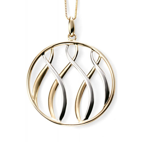 YELLOW & WHITE GOLD WAVE DISC PENDANT