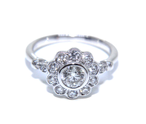 Campbell 18ct White Gold Antique Inspired Diamond Engagement Ring 0.87ct