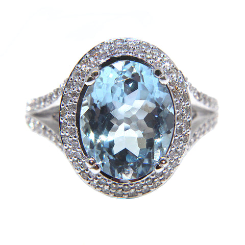 Aquamarine & Diamond Cocktail Ring 4.61ct | Campbell Jewellers
