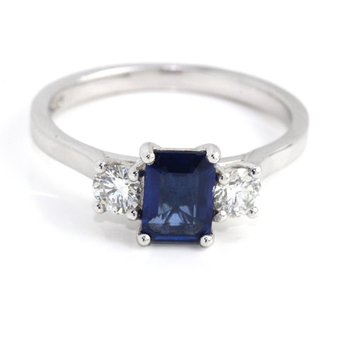 18k Sapphire Diamond Engagement Ring 1.16ct