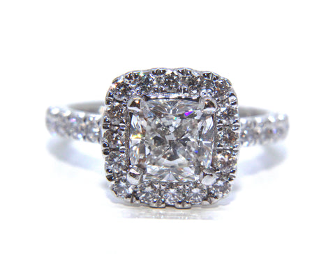 Campbell Jewellers Platinum Cushion Modified Brilliant Diamond Halo Ring 2.12ct