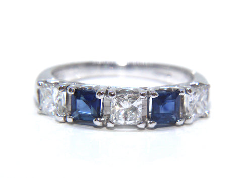 Campbell Jewellers Platinum Princess Sapphire & Diamond Eternity Ring 1.28ct