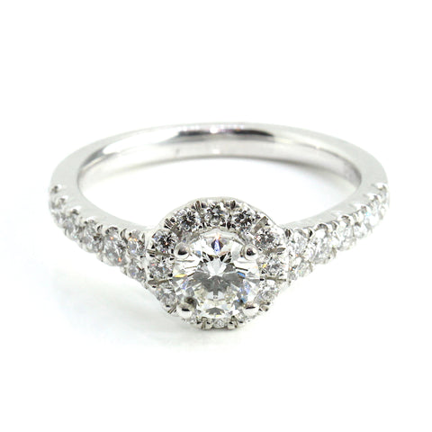 18k White Gold Halo Diamond Engagement Ring 0.98ct