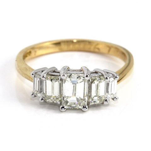 18k Emerald Cut Five Diamond Ring 1.67ct Campbell Jewellers