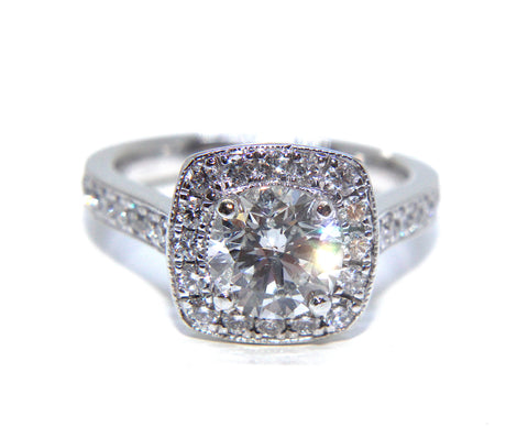 Platinum Classic Vintage Halo Diamond Ring 1.83ct | Campbell Jewellers