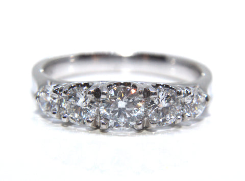 Contemporary Five Stone Round Brilliant Diamond Eternity Ring 1.18ct