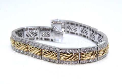 14ct White/Yellow Gold & Diamond Fields of Ireland Bracelet 1.80ct | Campbell Jewellers
