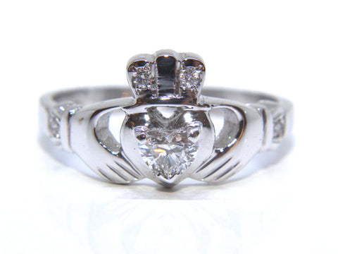 14ct White Gold Diamond Claddagh Ring