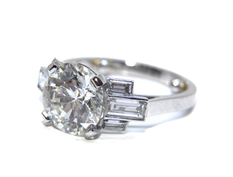 Platinum Art Deco Diamond Engagement Ring 3.90ct | Campbell Jewellers