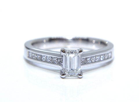 Platinum Emerald Cut Channel Shoulders Diamond Engagement Ring 0.81ct - Campbell Jewellers