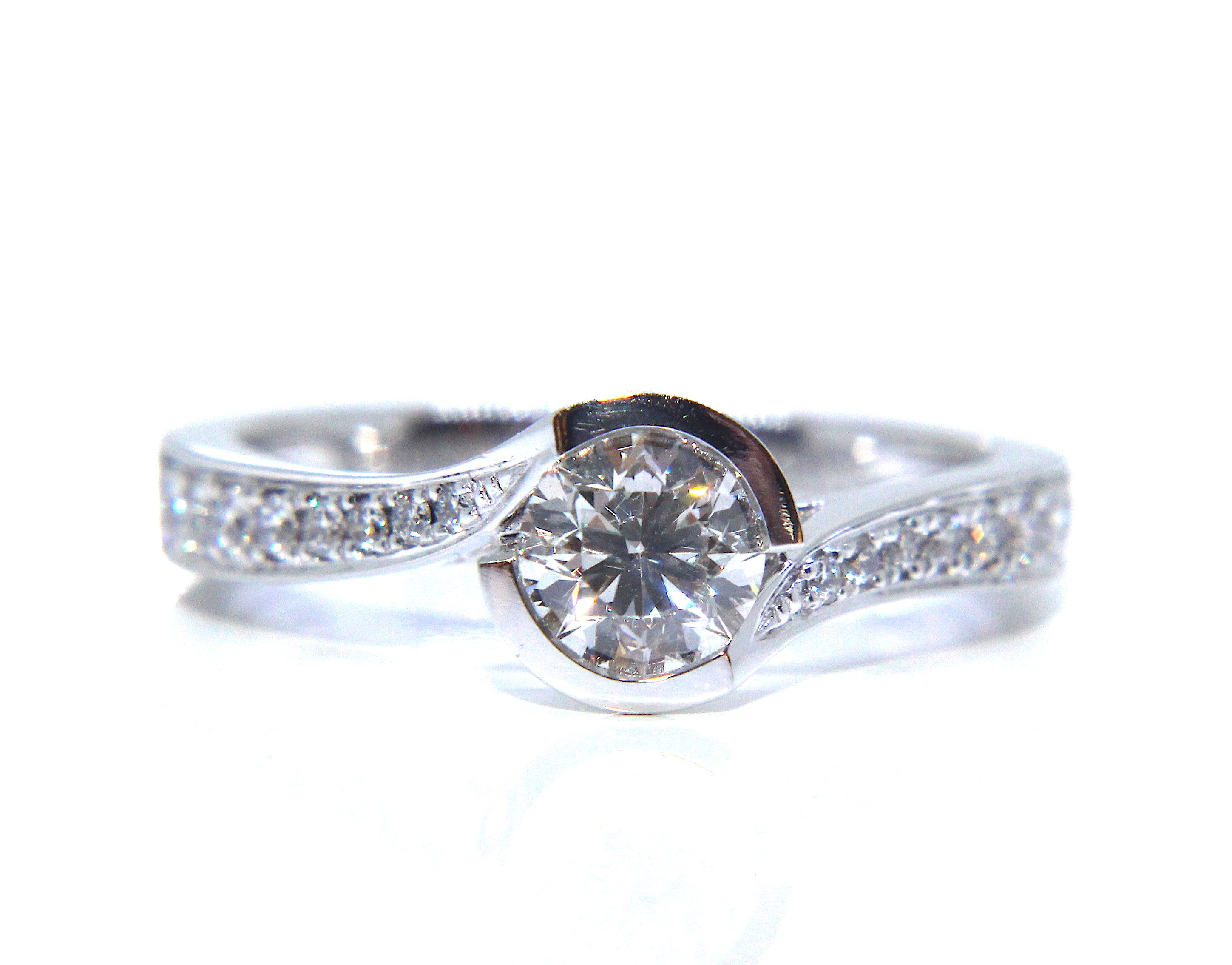 Campbell Platinum Round Diamond Twisted Half Bezel Engagement Ring