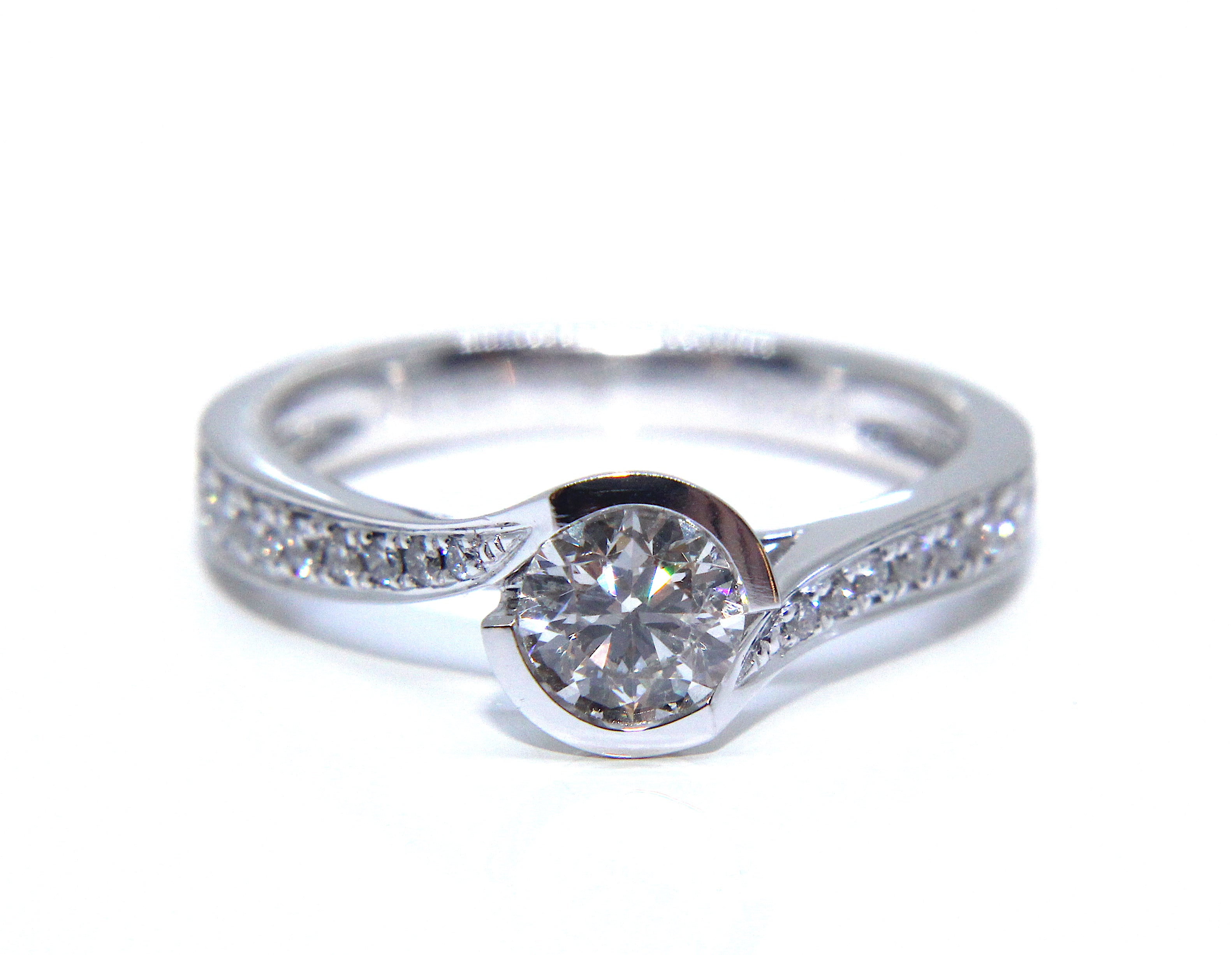 engagement twisted pear mccaul ring twist diamond rings collection band cut white and platinum