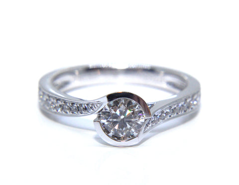 Platinum Round Brilliant Diamond Twisted Bezel Engagement Ring 0.69ct - Campbell Jewellers
