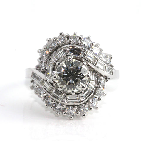 Round Brilliant Unique Baguette Cluster Ring 2.19ct