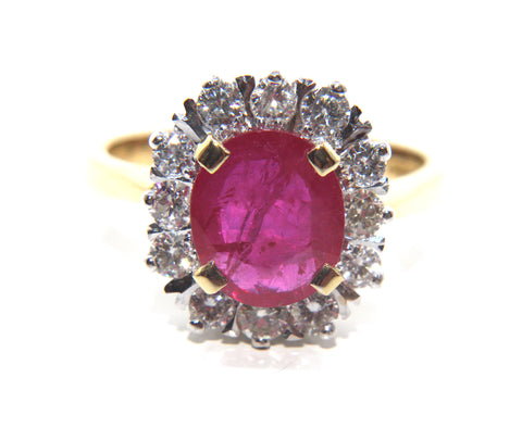Ruby & Diamond Cluster Ring 2.43ct | Campbell Jewellers
