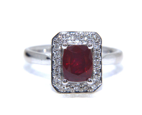 18ct White Gold Deep Red Ruby Diamond Ring 1.83ct - Campbell Jewellers