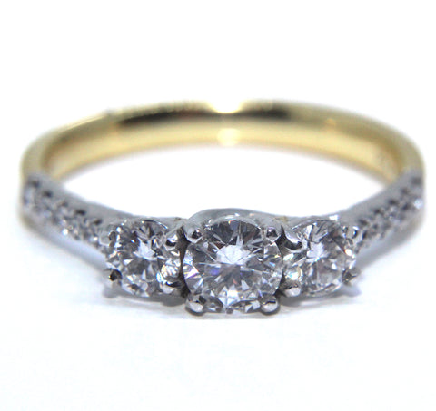 18k Trilogy Diamond Engagement Ring 0.96ct