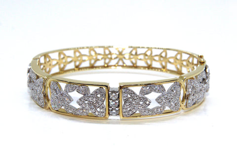 18ct White/Yellow Gold & Diamond Trinity Knot Bangle 1.69ct | Campbell Jewellers