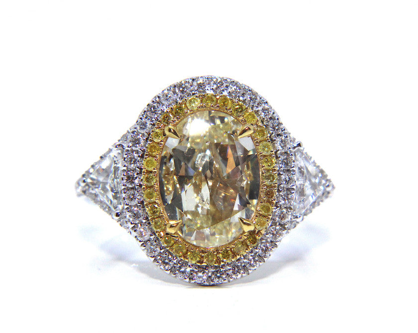 Bespoke Yellow Oval Trillion Ring