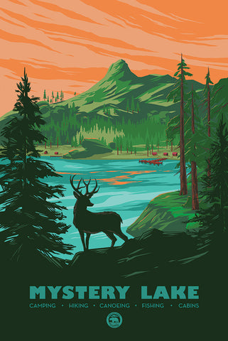 Mystery Lake National Park Poster